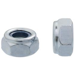 Nakrętka 6-kątna samokontrująca z wkładką poliamidową - kl.6, ocynk biały